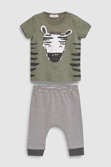 Zestaw legginsy w paski i koszulka w zebrę (0m-cy-2lata)