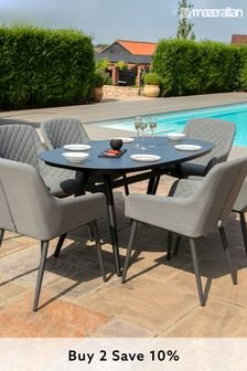 Zest 6 Seat Oval Dining Set / Flanelle By Maze Rattan