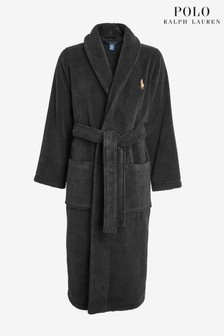 Polo Ralph Lauren Black Shawl Fleece Dressing Gown