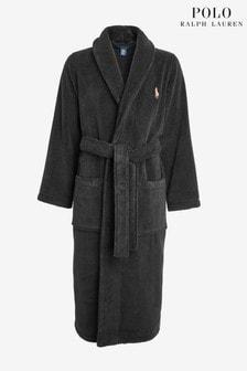 Polo Ralph Lauren Morgenmantel aus Fleece mit Schalkragen, schwarz