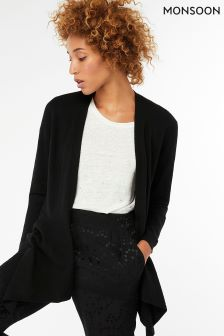 Monsoon Black Dahlia Dipped Hem Cardigan