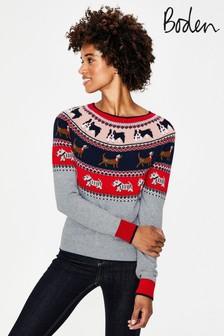 Boden Grey Christmas Fairisle Pattern Jumper