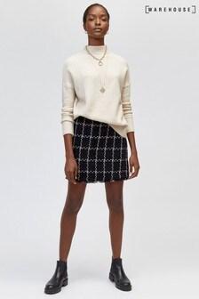 Warehouse Black Chenille Tweed Pelmet Skirt