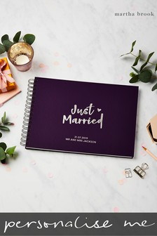 Personalised Just Married Guest Book by Martha Brook