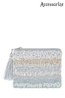 Accessorize Blue Willow Ombre Sequin Coin Purse