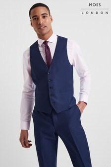 Moss London Skinny Fit Blue Stretch Waistcoat