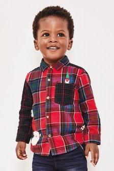 Camisa de cuadros con detalle de Papá Noel (3 meses-7 años)