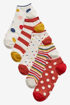 Spot And Stripe Trainer Socks Five Pack