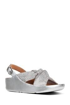 FitFlop™ Silver Ruche Twist Grace Crystal Sandal