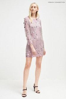Платье лавандового цвета с бахромой и бусинами French Connection