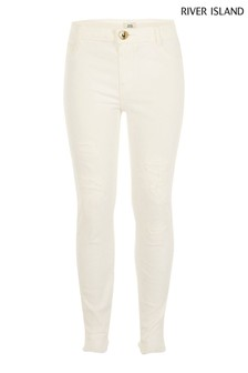 River Island White Ripped Molly Jeggings