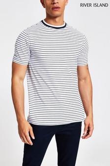Bielo-tmavomodré písikavé tričko River Island