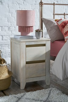 Amsterdam Light 2 Drawer Bedside Table