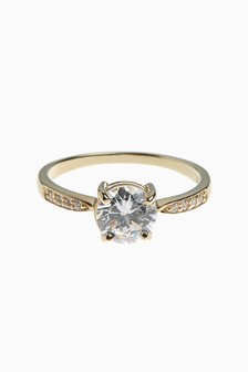 18 Carat Gold Plated Solitaire Ring