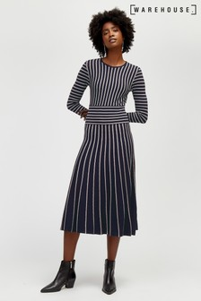 Warehouse Pleat Stripe Dress