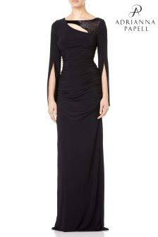 Adrianna Papell Black Petite Long Jersey Dress
