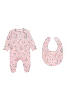 Cath Kidston® Pink Unicorns and Rainbows Baby Sleepsuit