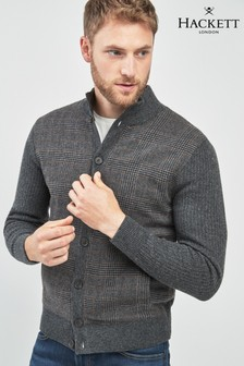 Hackett Grey Tweed Front Cardigan