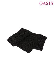 Oasis Black Chunky Knit Lurex® Scarf