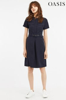 Oasis Blue Utility Shirt Dress