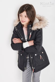 Mintie by Mint Velvet Blue Waxed Drawstring Parka