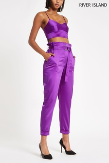 River Island Purple Belted Satin Trouser