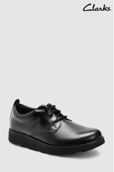 Clarks Kids Crown London Black School Shoe