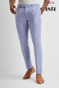 Moss London Premium Skinny Fit Blue Linen Trouser