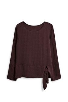 Langärmeliges Shirt mit seitlicher Bindung