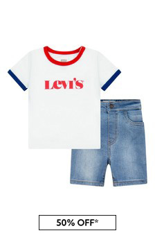 Levis Kidswear Baby Boys White Cotton Top/Bottoms Set