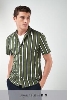 Short Sleeve Stripe Revere Shirt