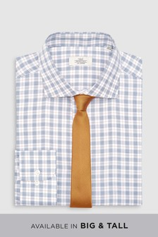 Komplet kariraste ozke srajce in teksturirane kravate
