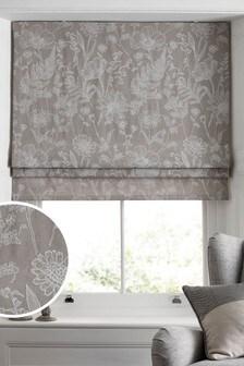Grey Linear Floral Print Roman Blind