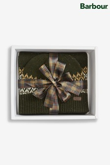 Barbour® Brackley Green Stone Beanie And Scarf Gift Set