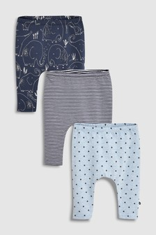 Elephant, Stripe And Star Leggings Three Pack (0mths-2yrs)