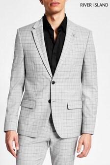 River Island Grey Check Skinny Jacket