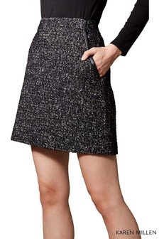 Karen Millen Black Tweed And Leather Skirt