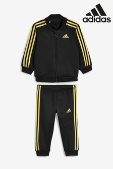 adidas Infant Black/Gold 3 Stripe Tracksuit