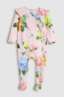 baker by Ted Baker Pink Distressed Rose Sleepsuit