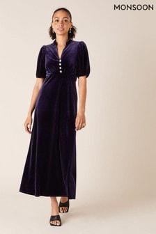 Monsoon Purple Veronique Velvet Shirt Dress