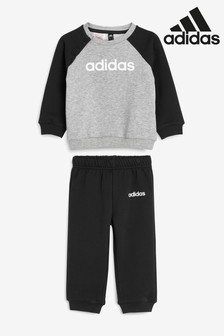 adidas Infant Black Linear Logo Set