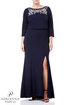Adrianna Papell Blue Plus Long Knit Crepe Dress