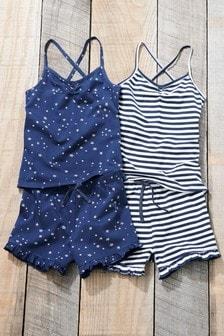 Два пижамных комплекта в полоску/звездочку с шортами (3-16 лет)