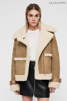All Saints Sand Luxury Leather Shearling Farley Jacket