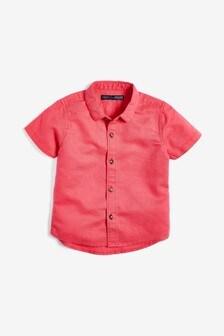 Рубашка из смеси льна, с коротким рукавом (3 мес.-7 лет)