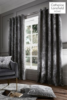 Catherine Lansfield Silver Crushed Velvet Eyelet Curtains