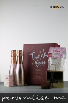 Personalised Thank You Sparkling Rose Marshmallow And Truffles Gift Box by Le Bon Vin