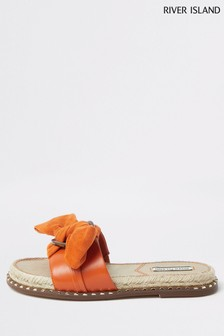 River Island Orange 1322 Espadrille Bow Sandals