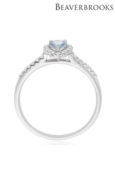 Beaverbrooks 18ct White Gold Aquamarine And Diamond Ring