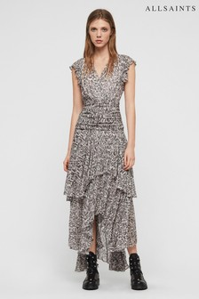 All Saints Light Pink Leopard Print Caris Maxi Dress